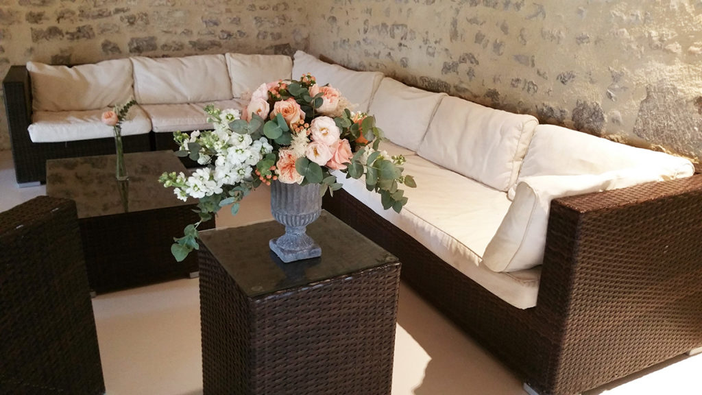 Decoration florale mariage Abbaye de la Grace Dieu Cenon